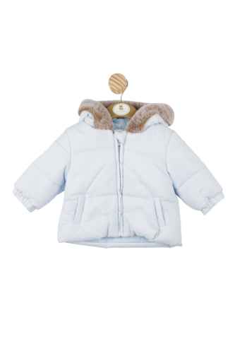 Boys Hooded Jacket with Faux Fur Trim